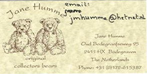Email Jane Humme Original Collector Bears